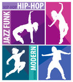 Silhouettes of girls dancing modern dance styles royalty free illustration