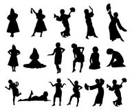 Silhouettes of girls in dresses, with a scarf and with a fan. Dancing, sitting, standing girls. Vector illustration. Stock Photography