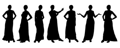 Silhouettes of girls fashion models, different poses. Vector. royalty free illustration