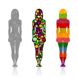 Silhouettes of girls with fruits and vegetables royalty free illustration