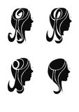 Silhouettes girls, head Royalty Free Stock Photos