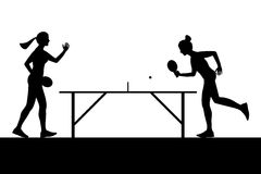 Silhouettes of girls playing ping pong. Vector Stock Photo