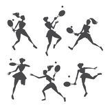 Silhouettes girls playing tennis Royalty Free Stock Photography