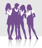 Silhouettes of girls talking to each other stock illustration