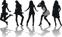Silhouettes of girls. In various poses royalty free illustration