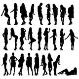 Silhouettes girls. Vector set of beautiful slender girls stock illustration