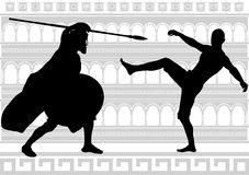 Silhouettes of gladiators Royalty Free Stock Photos