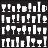 Silhouettes of glass glasses for beer and wine royalty free illustration