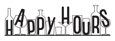 Silhouettes of glasses and bottles happy hours time. Vector black and white composition Royalty Free Stock Photos