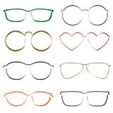 Silhouettes of glasses. Colorful vector illustration. Silhouettes of glasses. Hand drawn colorful vector set Royalty Free Stock Photo