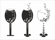 Silhouettes of glasses of wine Royalty Free Stock Photo