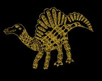 Silhouettes of a golden dinosaur on a black background. Golden dinosaur on a black background Royalty Free Stock Images