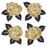 Roses set 003. Silhouettes of  golden roses isolated on white background. Use for fabric design, tattoo, pattern and decorating greeting cards and invitations Royalty Free Stock Photography