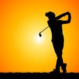 Silhouettes golfer Stock Photo