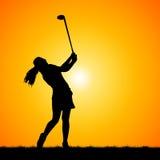 Silhouettes golfer Stock Photos