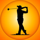 Silhouettes golfer Stock Images