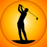 Silhouettes golfer Royalty Free Stock Photography
