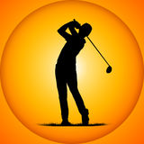 Silhouettes golfer Royalty Free Stock Image