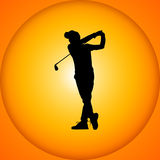 Silhouettes golfers with sunset Stock Images
