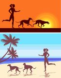 Silhouettes of greyhounds  and girl Royalty Free Stock Photo