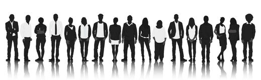 Silhouettes Group of Casual People in a Row Stock Images