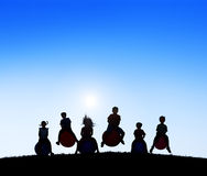 Silhouettes Group of Children Playing Balls Royalty Free Stock Photography