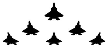 Silhouettes of group F 22 fighter. Stock Photography
