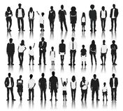 Silhouettes Group of People in a Row Royalty Free Stock Photo