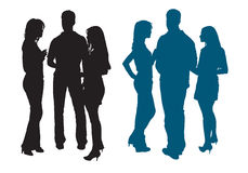 Silhouettes of a group of young women and man stock illustration