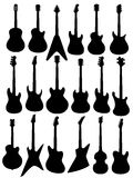 Silhouettes of guitars. Isolated on white background Royalty Free Stock Images