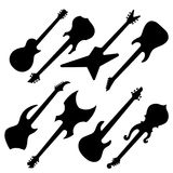 Silhouettes of guitars. Black silhouettes of electric guitars on white Stock Images
