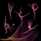 Silhouettes of gymnastic girls. Art gymnastics vector set Royalty Free Stock Photo