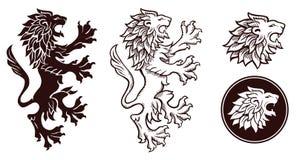 Silhouettes héraldiques de lion Photos libres de droits