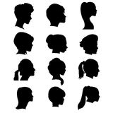 Silhouettes of hairdresses Stock Photography