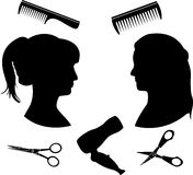 Silhouettes for a hairdressing salon Stock Photography