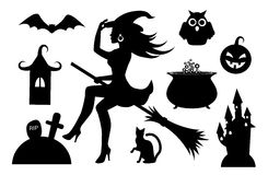 Silhouettes of Halloween characters. Black silhouettes collection Halloween symbols on a white background Stock Photography