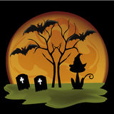 Silhouettes for halloween. A lot of black silhouttes of halloween icons in a  yellow moon Royalty Free Stock Image