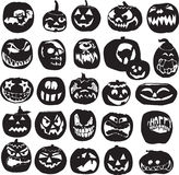 Silhouettes of Halloween pumpkins Royalty Free Stock Photography