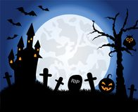 Halloween symbols on the background of the moon. Silhouettes of halloween symbols on the background of the moon and the evening sky Stock Images