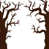 Silhouettes of Halloween trees, bare spooky scary Halloween tree. Vector illustration Stock Photography