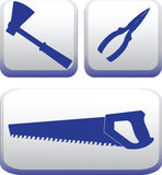 Silhouettes of hand-building tools. Set.Vector image. Royalty Free Stock Photos