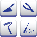 Silhouettes of hand-building tools.Vector image. Stock Photography