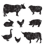 Silhouettes of hand drawn animal Stock Image