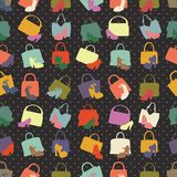 Silhouettes of handbag,shoes. Seamless pattern Royalty Free Stock Photo
