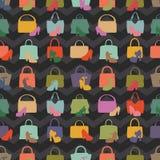 Silhouettes of handbag,shoes.Seamless pattern Stock Photo