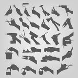 Silhouettes of hands. Authors illustration in Stock Illustration