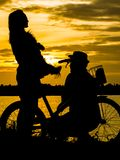 Silhouettes of a happy family with dogs and their bikes. . At th Royalty Free Stock Photo