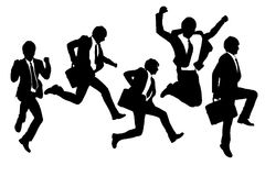 Silhouettes of happy jump and running Businessmen Stock Photos