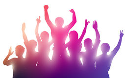 Silhouettes of happy people on white background. Silhouettes of happy people with hands up.  Successful teamwork or  music performance Royalty Free Stock Image