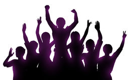 Silhouettes of happy people on white background. Silhouettes of happy people.  Successful teamwork or  music performance Royalty Free Stock Photography
